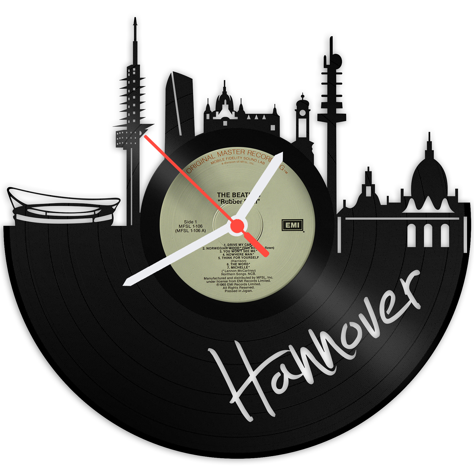 Schallplattenuhr Skyline Hannover | GRAVURZEILE.de | Gravurzeile.de ...