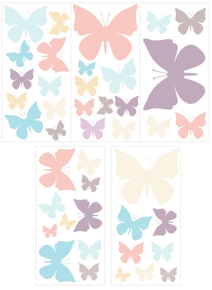 Wandtattoo Kinderzimmer Wandsticker Set Pastell Schmetterlinge in ...