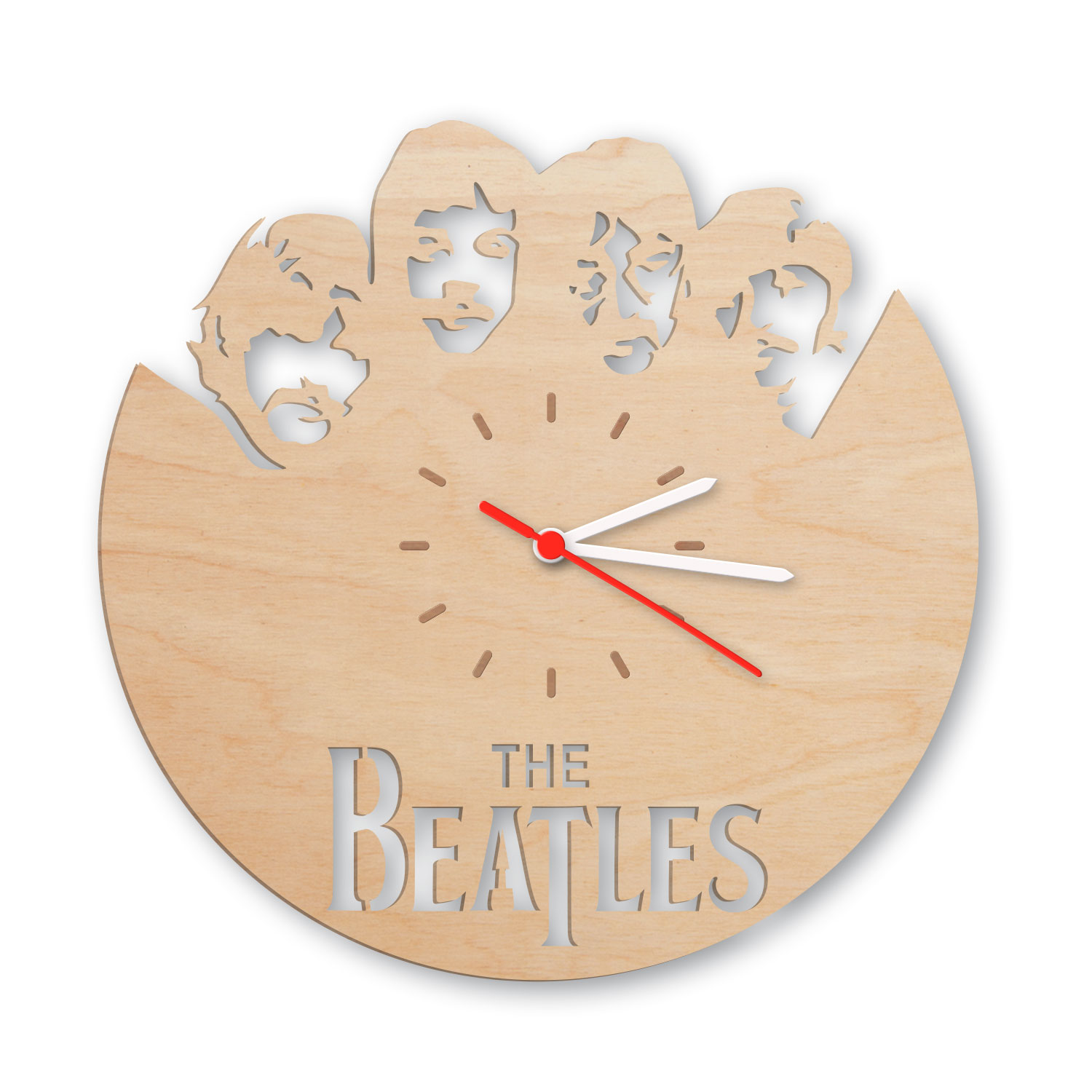 wanduhr aus holz the beatles. Black Bedroom Furniture Sets. Home Design Ideas