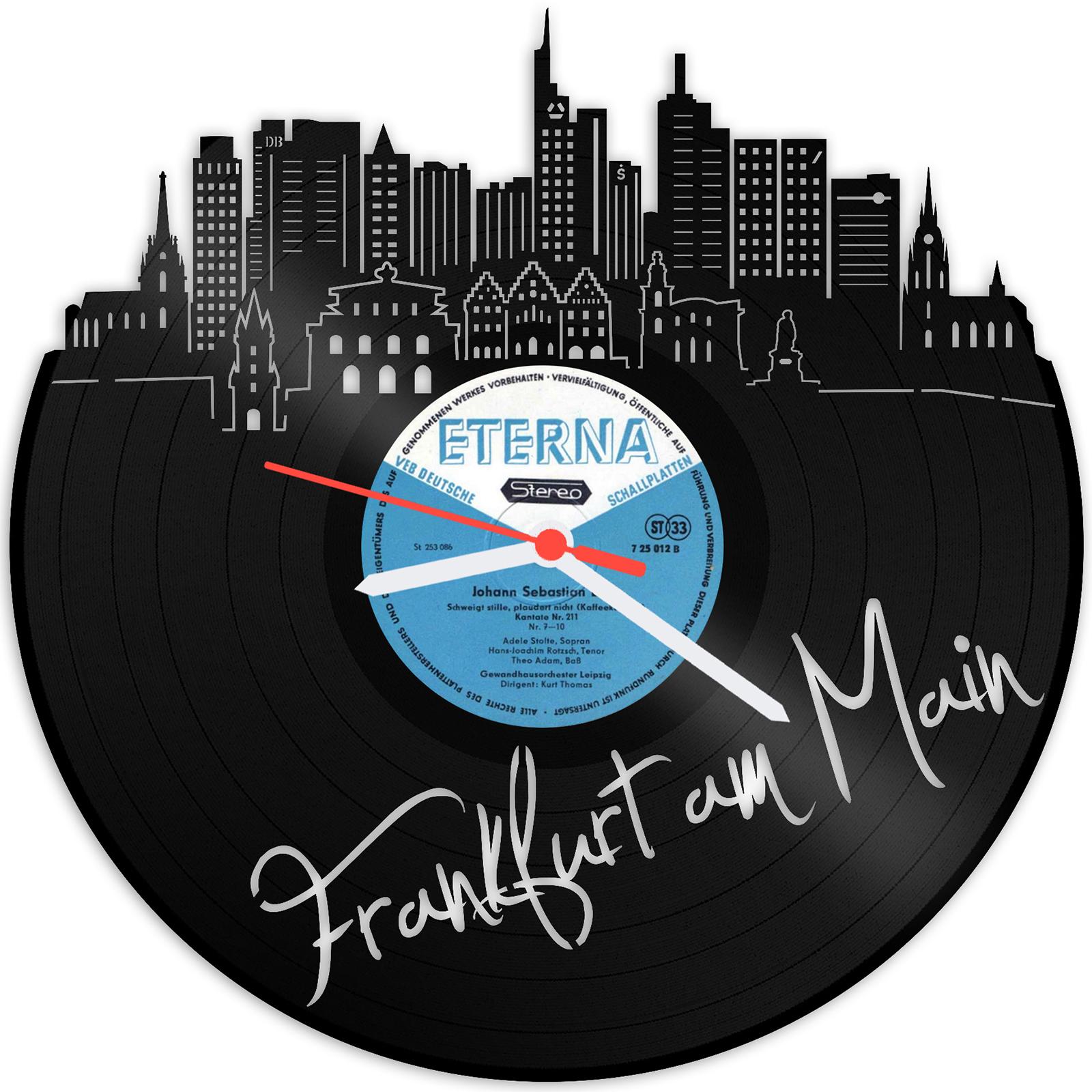 Schallplattenuhr Skyline Frankfurt