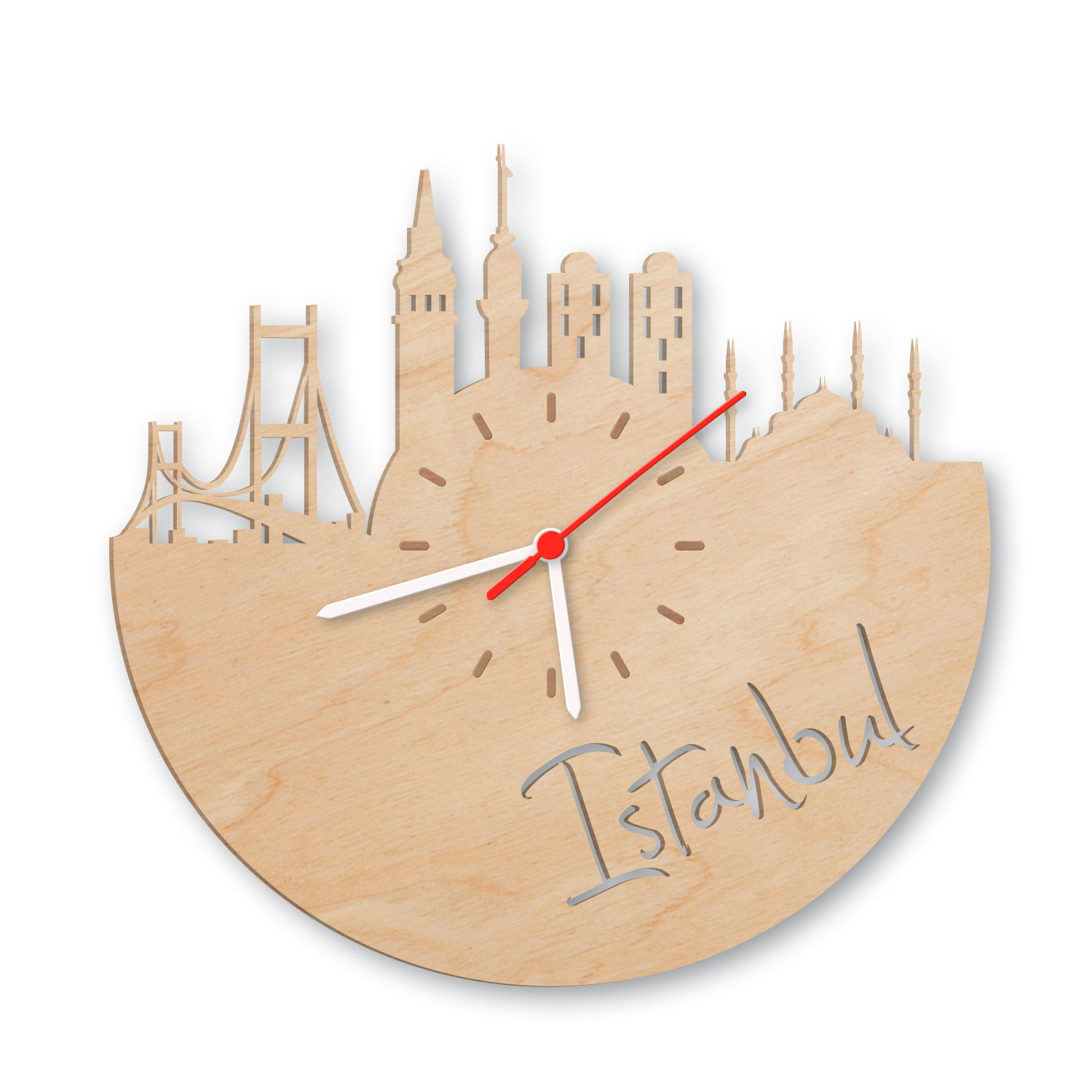 wanduhr aus holz skyline istanbul. Black Bedroom Furniture Sets. Home Design Ideas
