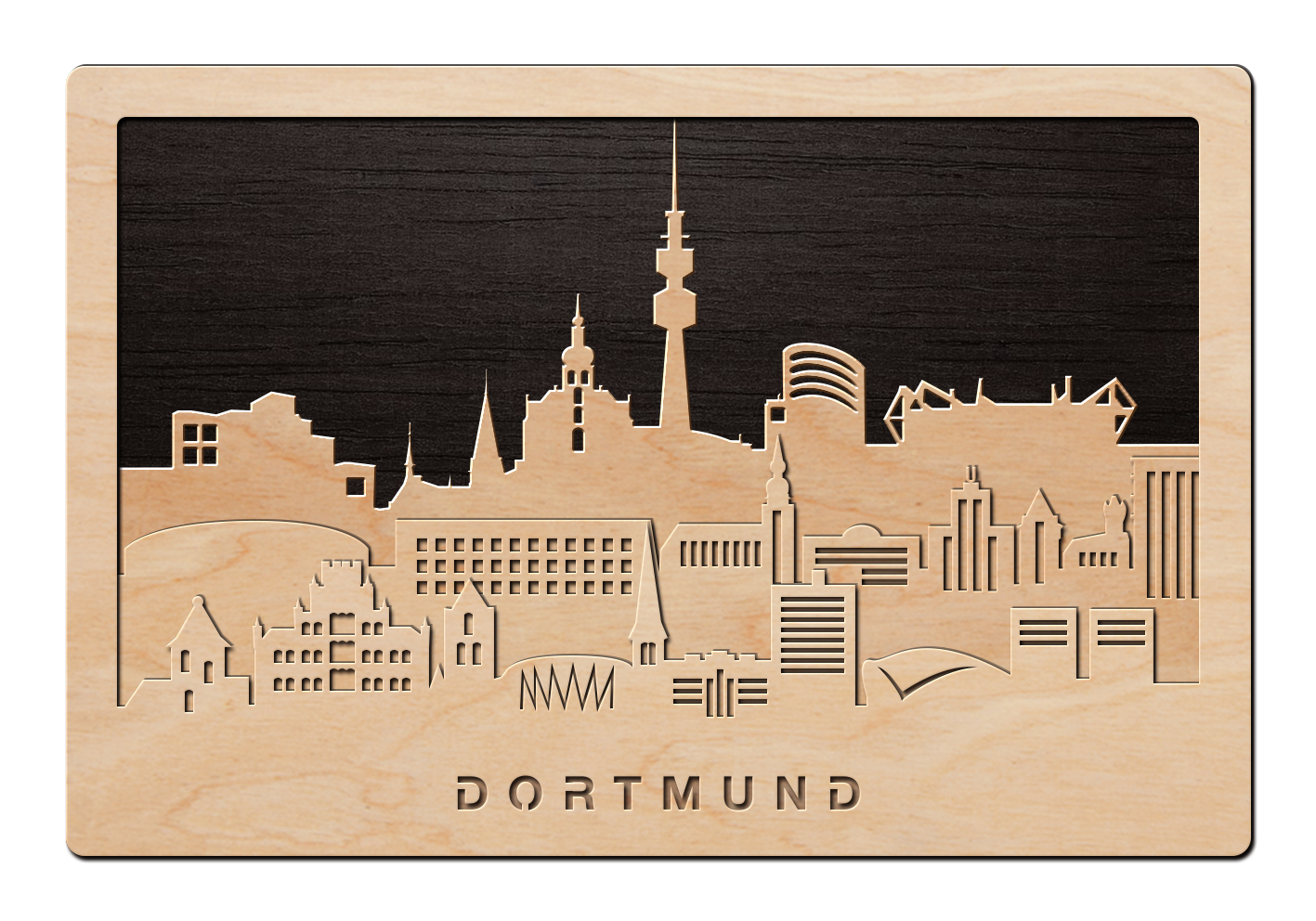 3d wandbild aus holz skyline dortmund einfach pers nlich. Black Bedroom Furniture Sets. Home Design Ideas