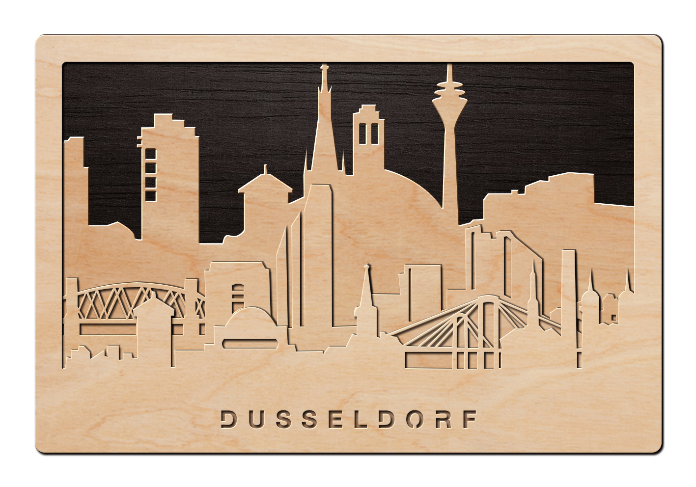 3d wandbild aus holz skyline d sseldorf einfach pers nlich. Black Bedroom Furniture Sets. Home Design Ideas