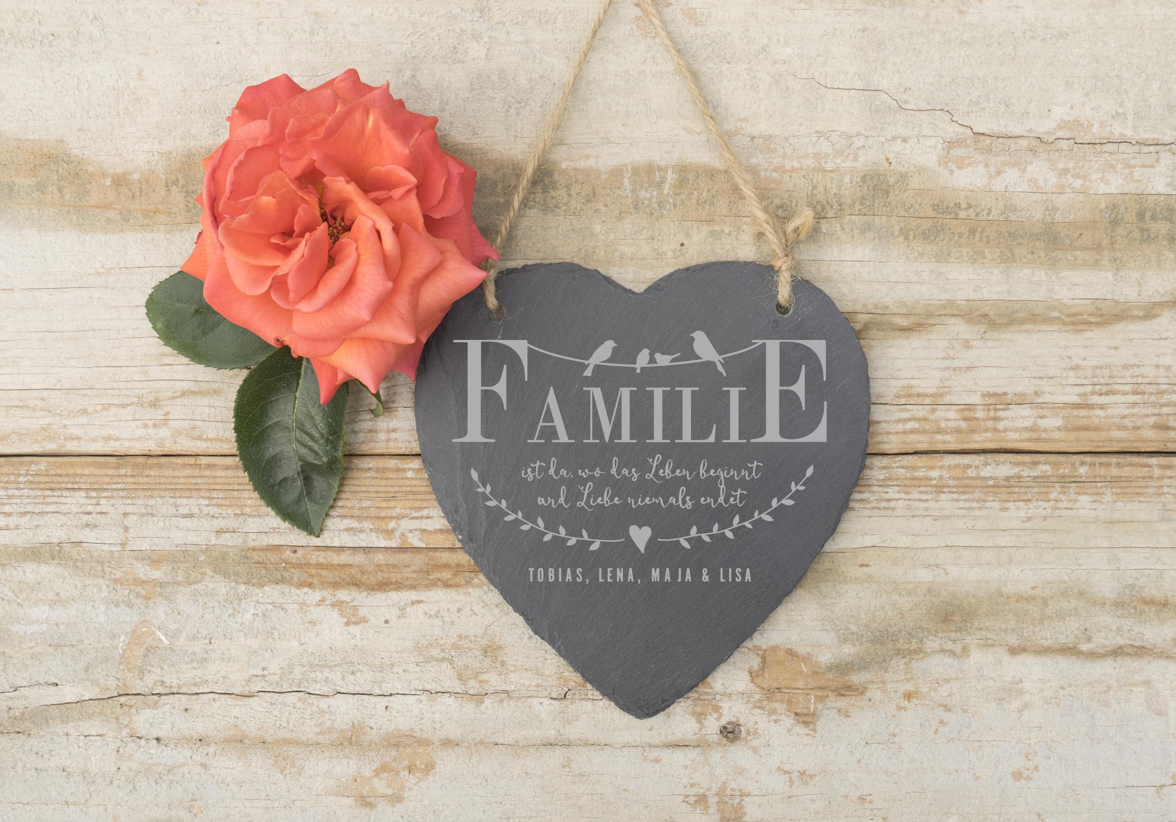 Schieferherz familie leben mit gravur for Minimalistisch leben mit familie